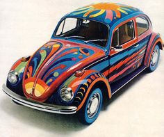 VW bug rolling in style Hippie Style, Hippie Car, Vw Super Beetle, Beetle Car, Auto Volkswagen, Bug Car, Combi Vw, Vw Cars, Cute Cars