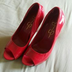 "HOT red Jessica Simpson heels no scuffs scratches. Shiny red heels heel is about 4.5"". Fit tts Jessica Simpson Shoes Heels"