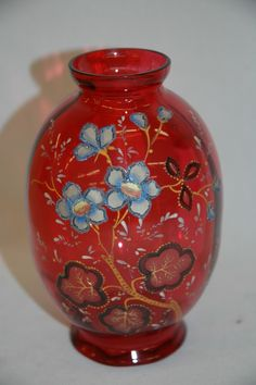 Moser Cranberry Art Glass Vase,