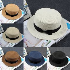 New Unisex Maize Straw Flat Top Pork Pie Boater Derby Sun Hat Natural Selling | Clothing, Shoes & Accessories, Women's Accessories, Hats | eBay!