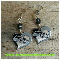 Seahawks Heart Logo Beaded Earrings
