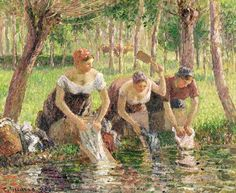Courbet's influence Camille Pissarro was influenced by Courbet's realism and his renunciation of pathos and the picturesque.   Camille Pissarro,  Les lavandières (The Washerwomen, Éragny), 1895.