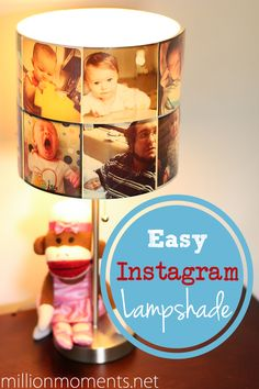 DIY lampshade with printed Instagram photos.