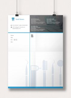 This Prescription Pad template is designed to have a modern unique look. Free Letterhead Templates, Letterhead Design, Clinic Logo, Dental Logo, Dental Office Design, Pad Design, Medical Prescription, Dentistry, Typo