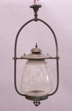 Antique Victorian Hanging Etched Glass Gas Light Fixture C1880