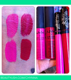 DUPES-The NYX Soft Matte Lip Creams are on top in the colors Addis Ababa (pink) and Monte Carlo (red). The bottom swatches are Kat Von D's Everlasting Love Liquid Lipsticks in Backstage Bambi (pink) and Outlaw (red).