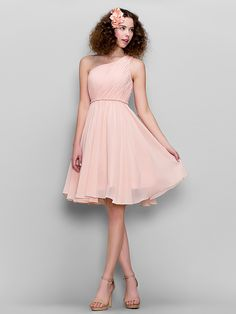 Honeymoon / Cocktail Party / Formal Evening / Sweet 16 Dress - Blushing Pink Plus Sizes / Petite A-line One Shoulder Knee-length Chiffon - USD $ 79.99