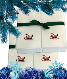 Nature's Linen Disposable Guest Hand Towels Wrapped with a Ribbon 100ct - Christmas / Holiday Collection Embossed with a Sleigh