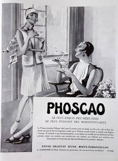 Phoscao French poser, original art deco advertising, vintage coffee poster, old magazine retro ad 1930 coffee illustration print for framing by OldMag on Etsy