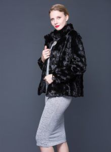 Women Natural Mink Fur Coat Stand Collar Fashion Jacket Mink Fur Coat Long  Sleeve Black Elegant Genuine Fur Coat Mandarin Collar  newwomenfashions ... 2233fef2a