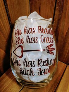 Resting Bitch Face Stemless Wine Glass funny sayings prank gift gag gift she has beauty she has grace gift for her secret santa - Hilarious Shirt - - Resting Bitch Face Funny Sayings Gag Gifts Funny Gifts Hilarious Mugs V Prank Gifts, Gag Gifts, Funny Gifts, Diy Tumblers, Custom Tumblers, Christmas Quotes, Christmas Humor, Christmas Mugs, Funny Christmas Sayings