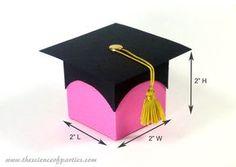 Caja del favor de graduación rosado por TheScienceOfParties en Etsy