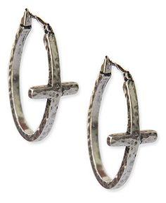 Lucky Brand Earrings, Silver-Tone Front-Facing Cross Hoop Earrings