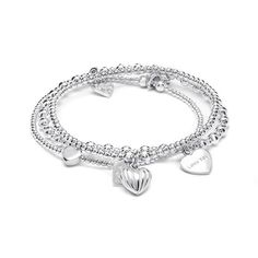 A three strand sterling silver charm bracelet stack featuring your favourite signature Annie Haak Bracelets and lots of heart charms. Love Bracelets, Bangle Bracelets, Bangles, Sterling Silver Charm Bracelet, Silver Charms, Love Heart, Heart Charm, Jewelry Sets, Rose Gold