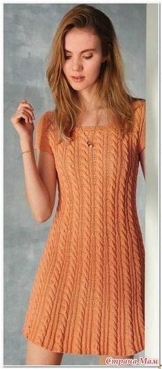 Оранжевое платье (спицами)
