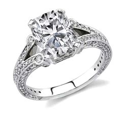 Ballerine Semi Split Band Cushion Cut Diamond Engagement Ring in 14K White Gold Three sided Pave band