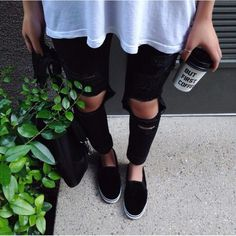 Black Ripped Knee Destroyed Skinny Jeans sold by DamselKate. Estilo Fashion, Fashion Moda, Grunge Fashion, Hipster Fashion, Looks Style, Style Me, Girl Style, Simple Style, Sp City
