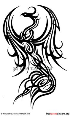 Tribal phoenix tattoo design. I want this design, but a wolf.