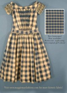 Children's fashion 1860s | I love the effect of smocking with checked or striped fabric.