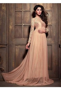 Pink Lace Anarkali Gown