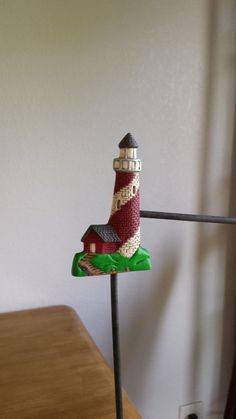 Ceramic Red and White Lighthouse Magnet(#233A)