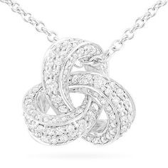 Round Brilliant 0.75 ctw VS2 Clarity, I Color Diamond 14kt White Gold Love Knot Necklace