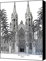 Sao Paulo Cathedral Drawing by Frederic Kohli - Sao Paulo Cathedral Fine Art Prints and Posters for Sale