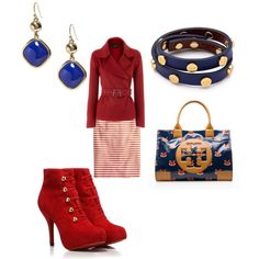 """""""Red, white and blue for work"""" by shortnsweet21 on Polyvore"""