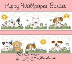 Puppy Dog Wallpaper Border for baby boy or girl nursery and children's room decor. Puppies in the spring meadow #decampstudios