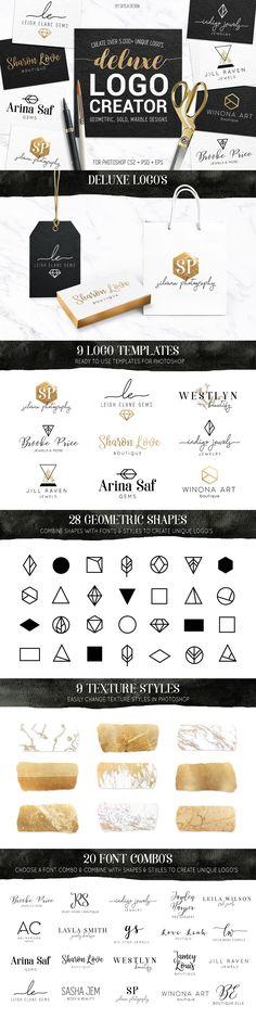 Deluxe gold logo creator kit by Skyla Design on @creativemarket