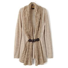 Leather Buckle Knit Apricot Cardigan ($26) ❤ liked on Polyvore featuring tops, cardigans, apricot, knit cardigan, knit top, brown cardigan, short-sleeve cardigan and cardigan top