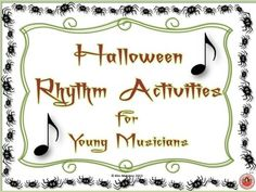30 pages -Designed to reinforce students' knowledge of note and rest values -The activities become progressively more difficult and so can be used for a number a grade levels. Spooky Music, Halloween Music, Child Teaching, Teaching Music, Piano Lessons, Music Lessons, Music Classroom, Classroom Resources, Music Worksheets