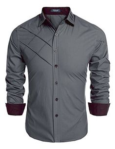 Coofandy Men's Fashion Slim Fit Dress Shirt Long Sleeve Casual Shirts Material:Cotton Style:Fashion,Casual The shirts size is USA size Brand:Coofandy,Made in Zeagoo Group Limited. Please check product description before ordering to ensure accurate fitting Cool Shirts For Men, Formal Shirts For Men, Indian Men Fashion, Mens Fashion Suits, Men's Fashion, Mens Designer Shirts, Designer Clothes For Men, Slim Fit Dress Shirts, Slim Fit Dresses