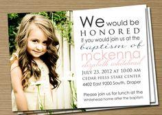 Boy/Girl Printable Baptism Invitation/Announcement