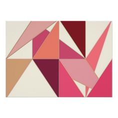 Mid Century Abstract, Triangles - Coral, Beige Poster