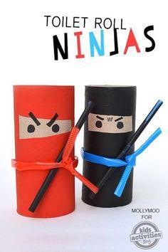 Basteln mit Klopapier Rollen - Ninjas - echt super leicht *** toilet paper roll ninjas - very easy kids craft
