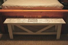 Awesome... guest book bench. How cool would it be to do this for an end table for a baby shower?