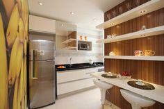 cozinha com painel de madeira mesa pra dois casal prateleria enfeite decoracao decorada decorado decorei decorar decor