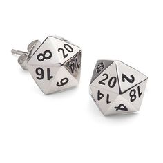 d20 Polyhedral Dice Stud Earrings (34 AUD) ❤ liked on Polyvore featuring jewelry, earrings, stainless steel jewelry, stainless steel jewellery, stainless steel earrings, earring jewelry and stud earrings