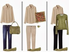 Capsule Wardrobe Fall Accent Color: Linden Green - The Vivienne Files White Tee Shirts, White Tees, Beige Pants, The Vivienne, Fall Capsule Wardrobe, Beige Top, Fashion Capsule, Accent Colors, Minimalist Fashion