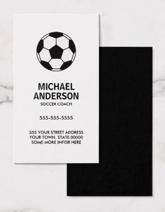 Stylish minimal tennis business cards great for a tennis coach soccer business cards with black and white soccer ball ideal for a soccer fan colourmoves