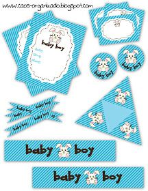 Baby Shower ~ Boy ~ Decorations ~ Free Printable Collection (en Español - click the image and save to your computer)
