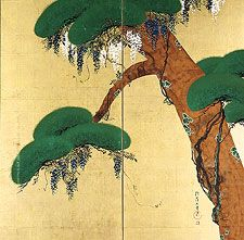 Pine and Wisteria. Sakai Hoitsu. Japan; Edo period. dated 1810 - 1819. Two-panel folding screen; Ink and color on gold leaf on paper Collection of the Asia Society. New York. Rinpa style.