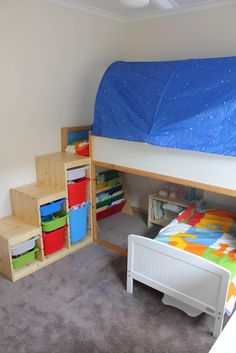 "Need to get creative in the ""boys"" room. Trofast as bunk bed steps (instead of ladder)"