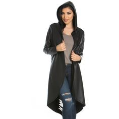 Longline Slashed Back Faux Leather Cardigan ($30) ❤ liked on Polyvore featuring tops, cardigans, faux leather cardigan, faux leather top, longline tops, long line cardigan and slash top