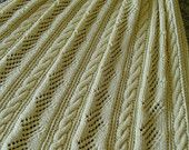 Aran Knit Afghan -  Handknit afghan or laprobe -  For That SPECIAL Person - Wheelchair Friendly