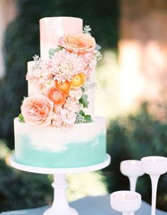 Like the smaller delicate cake-I would love it with brighter flowers with that same watercolor effect. The 1960's Mod Look Wedding Cake - WeddingWire SummerBook 2015