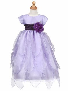 Organza Petals Full Length Dress - Lilac at Adorable Baby Clothing www. Beautiful designs for your flower girl. Lilac Flower Girl Dresses, Toddler Flower Girl Dresses, Lilac Dress, Little Girl Dresses, Flower Girls, Girls Dresses Size 8, Dresses For Less, Organza Flowers, Organza Dress