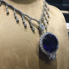 A 108 carat tanzanite necklace surrounded by diamonds. Necklace by @takatnewyork #JAmember