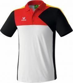 Erima Premium One Poloshirt weiß/schwarz/rot/gelb   Sportlich schickes Poloshirt aus weichem Funktionspolyester. elastisches und schnell trocknendes Funktionspolyester angenehmer und hautfreundlicher Tragekomfort